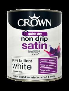 Pure Brilliant White Colour Satin Quick Dry Crown Paints